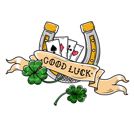 Tattoo horseshoe, four leaf clover and playing cards. Good Luck tattoo. Old school style. Lucky symbol.