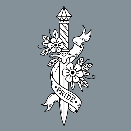 Vector tattoo dagger with flowers and ribbon. Ancient oriental dagger decorated with large sapphire. Ribbon with lettering PRIDE. Old school style. Traditional Tattoo Design. Black and white tattoo