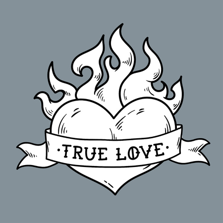 Flaming Heart Tattoo with ribbon. True love.