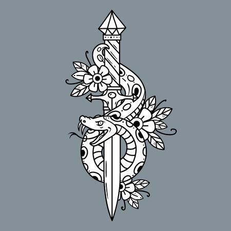 Tattoo dagger with snake, old school vector illustration.