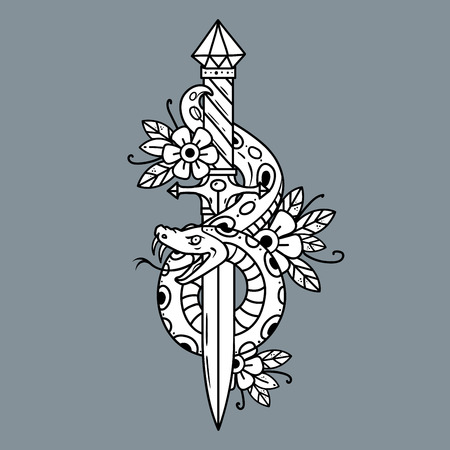 Tattoo dagger with snake, old school vector illustration.