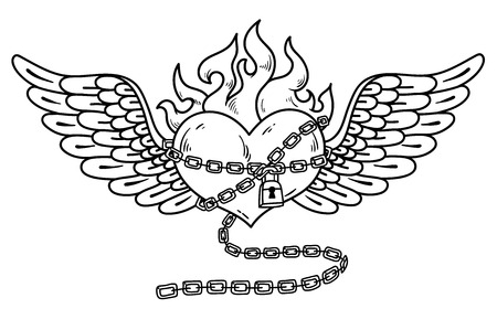Flying heart in chain of love. Flaming heart tattoo design