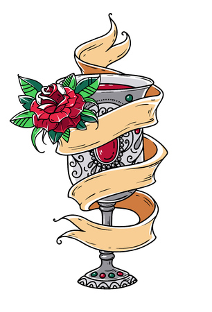 Tattoo template design. Ancient silver goblet with red wine and red rose. Symbol of grace, of enjoying life. Symbol of spiritual purification.