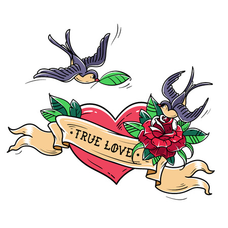 Tattoo Swallows Fly Over Red Heart And Rose True Love Concept