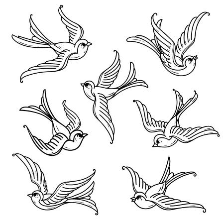 Set Of Flying Bluebirds Free Birds Symbol Of Hope Royalty Free