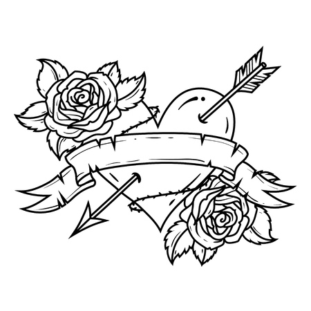 Tattoo Heart pierced by arrow with ribbon and roses. Symbol of Love and Passion