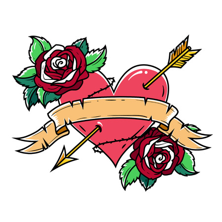 Tattoo Red Heart pierced by arrow with ribbon and roses. Symbol of Love and Passion