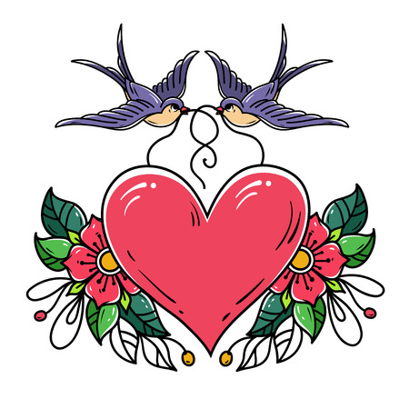 Two swallows carry red heart decorated with flowers. Old school tattoo.