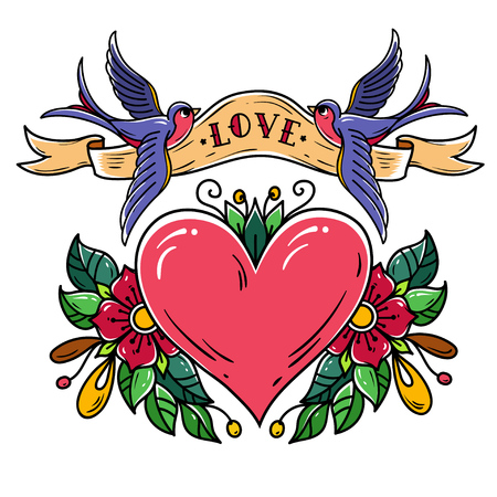 Red heart decorated with flowers. Two bluebirds carry ribbon with lettering LOVE over heart. Old school tattoo.