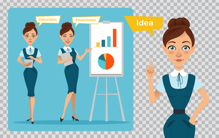 Business women characters on transparent background. Girl has idea . Girl is showing presentation, calculating profit Illusztráció
