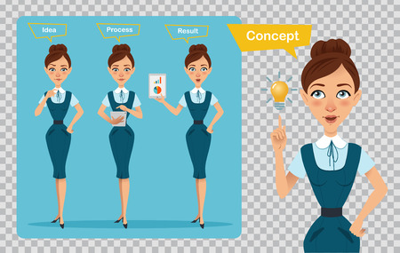 Set of business women characters. Three poses. Woman is having idea. Illustration on transparent background