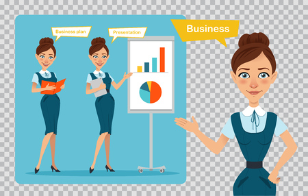 Set of business women characters. Three poses. Girl is standing with folder. Illustration on transparent background