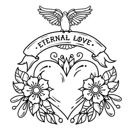 Heart with flowers, ribbon and pigeon in Black and white illustration.