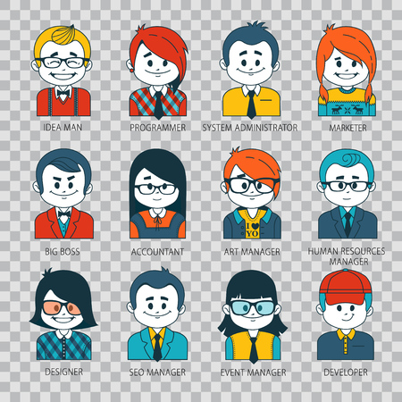 Set of people icons in flat style with faces Illustration on transparent background.