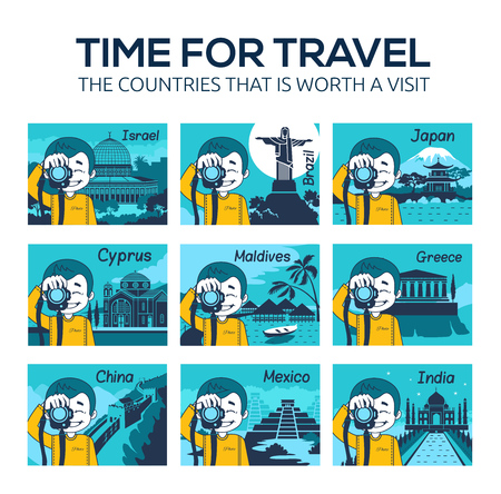 Set of flat travel icons with character photographer. Different countries, cities, landmarks of world. Time for travel. Vettoriali