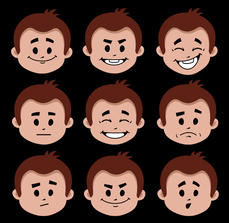 Set of flat icons with people facial expressions. Positive and negative emotions. Character with different expressions