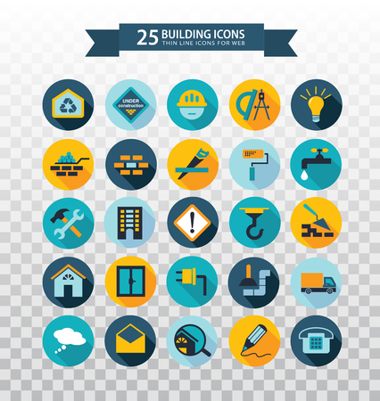 Flat circular construction icons. Web icons building, construction and home repair tools. Pictographs with long shadows. Illustration