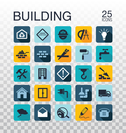 Flat construction icons web icons building, construction and home repair tools. Construction tools icons set.