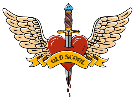 Red heart with wings pierced with ancient dagger. Tatoo dagger piercing flying heart with dripping blood. Heart decorated ribbon with lettering Old School. Retro tattoo. Illustration