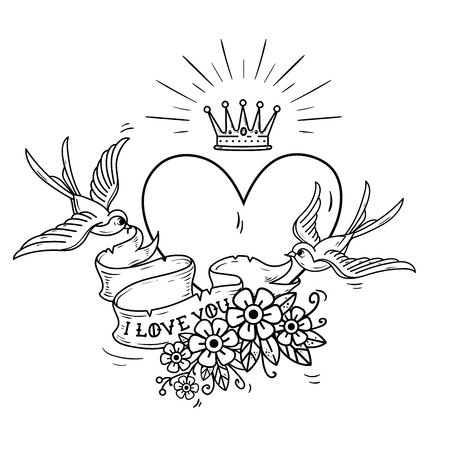 Holiday illustration with heart and gold crown. Swallows fly and hold ribbon decorated with flowers and text I love you. Vector illustration.