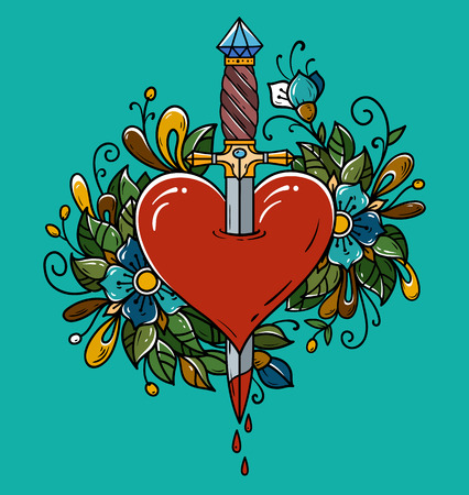 Red heart decorated with flowers pierced with dagger. Tattoo dagger piercing heart with dripping blood. Heart bleeding Vector illustration.