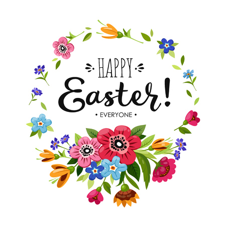 Template of Happy Easter card. Illustration