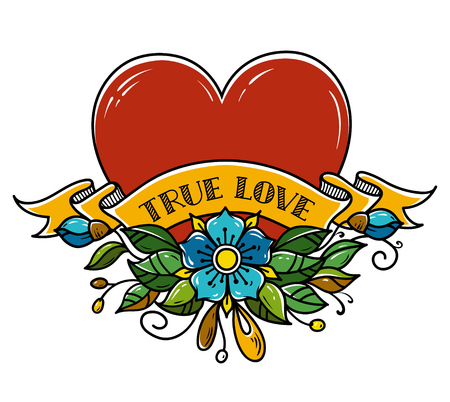 Tattoo Heart pierced with arrow. Heart decorated with flowers, leaves and ribbon. True Love. Amour Symbol