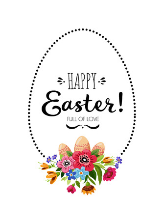 Happy Easter card with vector eggs isolated on plain background.