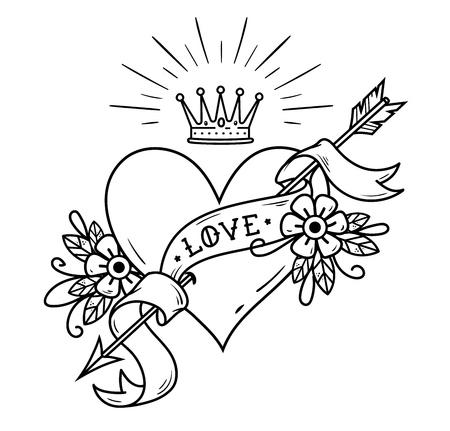 Tattoo heart pierced by arrow with crown, ribbon.