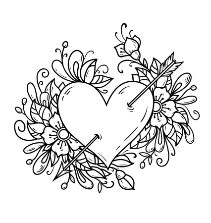 Black and white illustration of heart pierced by arrow.