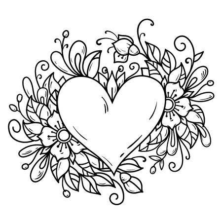 Romantic heart decorated flowers, buds, leaves. Heart decorated floral composition. Illustration