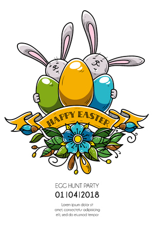 Design of Happy Easter poster, invitation to holiday party. Two rabbits hold eggs, ribbon and flowers. Eggs hunt party Illustration