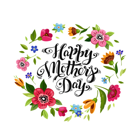 Elegant lettering Happy Mother's day in flower frame vector floral wreath.