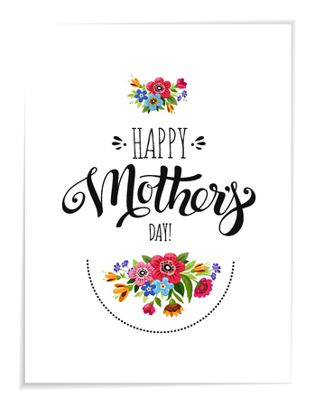 Realistic greeting card with flowers. Template of Happy Mothers Day card. Handwritten lettering Happy Mothers Day.