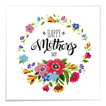 Happy Mother's Day belettering in bloem frame vectorillustratie.