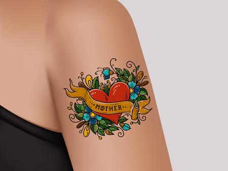 Dekoratives Tattoo auf weiblichem Arm. Herz mit Blumen und Band. Mutter Tattoo. Realistische Illustration für Tattoo-Studio Vektorgrafik