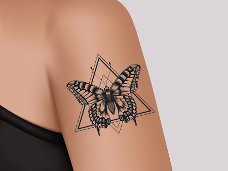 Tattoo on female shoulder. Mystic butterfly tattoo. Template of banner for tattoo parlor Vectores