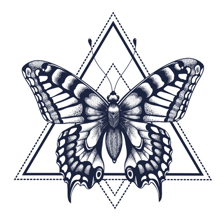 Butterfly tattoo. Dotwork tattoo. Graphic arts. Butterfly in triangle, geometry. Mystical symbol of freedom, nature