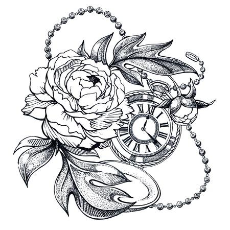 Composición con flor y reloj de bolsillo en cadena.