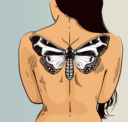 Woman with butterfly tattoo on her back. Vector illustration for tattoo parlor