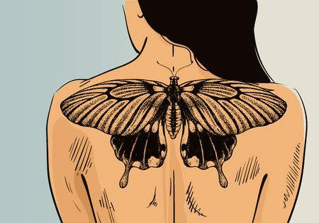 Woman with tattoo on banner. Vector butterfly tattoo on back. Illustration for tattoo parlor. Ilustrace