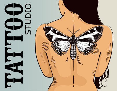 Tattoo studio banner. Woman with butterfly tattoo. Vector butterfly tattoo on back. Illustration for tattoo parlor