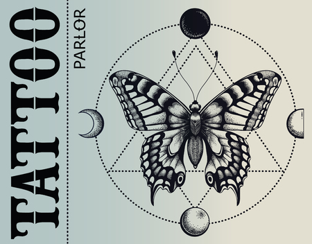 Tattoo parlor banner. Mistical butterfly is inscribed in circle of moon phases. Vector banner. Illustration for tattoo school and tattoo studio. Ilustração