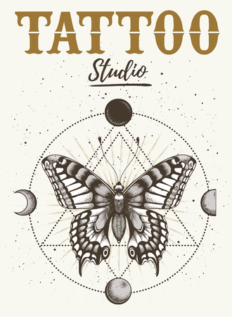 Tattoo studio poster. Banner with mystical butterfly tattoo and orbiting moon. Geometry style.