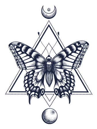 Butterfly tattoo and t-shirt design. Butterfly in triangle, at top is half moon with star, at bottom is full moon.