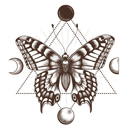 Butterfly in triangle. Moon phases. Sepia color.Tattoo Design. T-shirt design. Mystical symbol of soul, immortality,