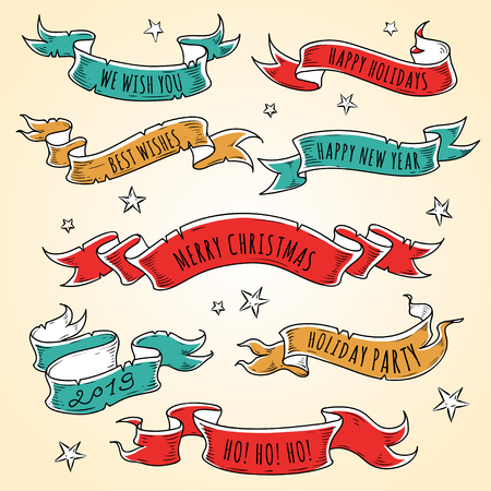 Set of colored holiday ribbons with stars and inscriptions. Illustration for holiday label ,sticker, greeting card design. New Year design