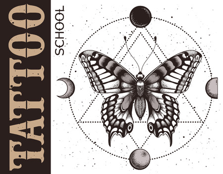Tattoo school banner with butterfly, triangle geometry, moon phases and spray. Mystical symbol of soul, immortality