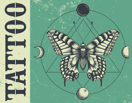 Banner for tattoo school, studo, parlor.Illustation with butterfly, triangle geometry, moon phases.Grunge,vector banner