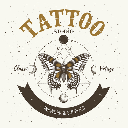 Tattoo studio banner. Classic and vintage tattoo. Realistic butterfly ,triangle and orbiting moon. Sacred geometry Ilustrace